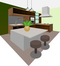 A modern kitchen interior design Royalty Free Stock Photo