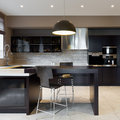 Modern kitchen interior of a new luxury Stock Photos