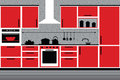 Modern kitchen interior red and gray illustrator eps Stock Photos