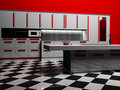 Modern kitchen interior in white and red color Royalty Free Stock Photo
