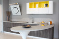 Modern kitchen white and yellow detail of a coloured Royalty Free Stock Image