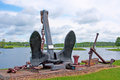 Modern lake boat anchor huge anchors for boats on lakes Royalty Free Stock Photography