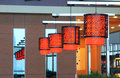 Modern lamps the red of dining room Royalty Free Stock Photo