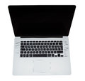 Modern laptop computer open from above white background Royalty Free Stock Images