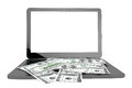 Modern laptop with dollar banknotes online payments concept on a white background Stock Photos