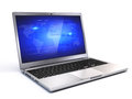 Modern laptop on white background d render Stock Photos