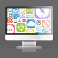 Modern lcd monitor with icon interface Royalty Free Stock Image