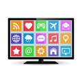 Modern LCD smart TV with application icons