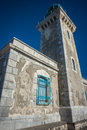 Modern lighthouse at the most southern point of greek mainland Royalty Free Stock Photo