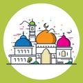 Modern line style Islamic Mosque