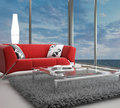 Modern living room architecture interior a d rendering of Royalty Free Stock Photo