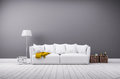 Modern living room in minimalistic style with sofa Royalty Free Stock Photo