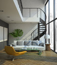 Modern loft interior d illustration Royalty Free Stock Photography