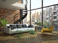 Modern loft interior with part of second floor photo outside was made by me i have original Stock Images