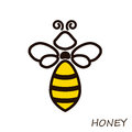 Modern logo bee honey. Icons honeybee Linear flute.