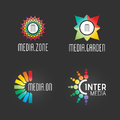 Modern Logo Set. Media Technology Business Company Successful Symbol Web Template. Logo Vector Elements Pack. Brand Icon Design Royalty Free Stock Photo