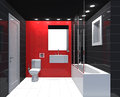 Modern luxury bathroom red black white interior no brandnames or copyright objects Stock Photo