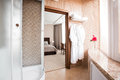 Modern luxury bathroom with shower cabin and window. Interior design. Royalty Free Stock Photo