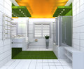 Modern luxury bathroom yellow green white interior no brandnames or copyright objects Stock Photo