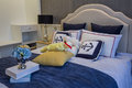 Modern luxury interior home design bedroom villa decoration bed Stock Photo