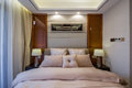 Modern luxury interior home design bedroom villa decoration bed Royalty Free Stock Photo