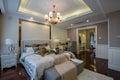 Modern luxury interior home design bedroom villa decoration bed Stock Image