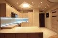 Modern luxury kitchen with white LED lighting Royalty Free Stock Photo