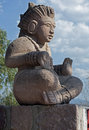 Modern made mayan style statue tourist attraction against blue sky clouds Royalty Free Stock Image