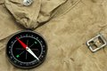 Modern Magnetic Compass On The Weathered Backpack Royalty Free Stock Photo