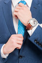 Modern man in casual clothes with elegant watch Royalty Free Stock Photo