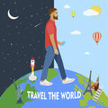 Modern man travels the world day night vector illustration america france italy russia Royalty Free Stock Photos