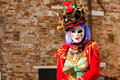 Modern masked woman at venice carnival Stock Photos
