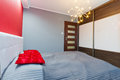 Modern master bedroom red interior Stock Photo