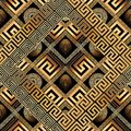 Modern meander seamless pattern. Abstract black gold greek key b Royalty Free Stock Photo