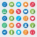 Modern media design elements colorful flat web icons Royalty Free Stock Images