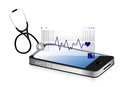 Modern medical app smartphone with a stethoscope illustration design over white Stock Images