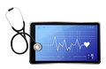 Modern medical app tablet with a stethoscope illustration design over white Royalty Free Stock Image