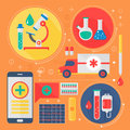 Modern Medicine and healthcare services flat concept. Medical pharmacy technology diagnostics infographics design, web