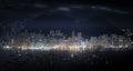 Modern metropolis panorama at night. High skyscrapers of Hong Ko