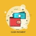 Modern minimal flat thin line wallet concept vector illustration.