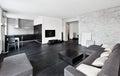 Modern minimalism style drawing-room interior Royalty Free Stock Photo