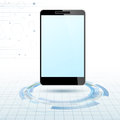Modern mobile device over technology rings clip art Stock Photos
