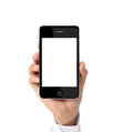 Modern mobile phone in hand the Royalty Free Stock Images