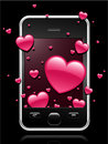 Modern mobile phone with hearts coming out of Royalty Free Stock Image