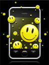 Modern mobile phone with smiley faces Royalty Free Stock Photos