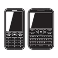 Modern mobile set phone with qwerty keyboard black and white vector illustration Royalty Free Stock Photography