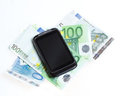 Modern mobile smart phone and  euro banknotes Stock Photo