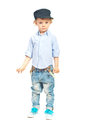 Modern model toddler boy posing isolated on white background Stock Images