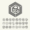 Modern monogram cube, hexagon of the strips, and three letters inscribed. Plus a set of letters to create the logo Royalty Free Stock Photo