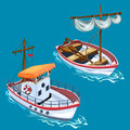 Modern motorboat and sailing wooden boat on water